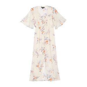 NWT ✨ NORDSTROM Floral Ivory Chiffon Midi Dress